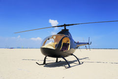 Helicopter on seaside Royalty Free Stock Photos