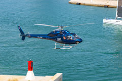 Helicopter service in the port of Barcelona Stock Image