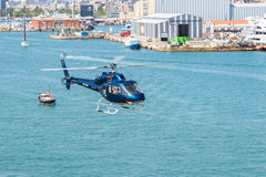 Helicopter service in the port of Barcelona Stock Photos