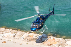 Helicopter service in the port of Barcelona Royalty Free Stock Photos