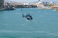 Helicopter service in the port of Barcelona Stock Photo
