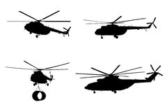 Helicopter of set silhouette. Stock Images