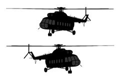 Helicopter of set silhouette. Stock Image