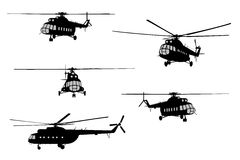 Helicopter of set silhouette. Royalty Free Stock Images