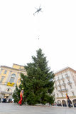 Helicopter settles a Christmas tree in the central square of Lug Royalty Free Stock Photography
