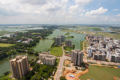 The helicopter shot from Dhaka, Bangladesh. With blue sky royalty free stock photo