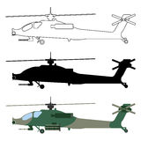Helicopter silhouette, cartoon, outline. Military equipment set. Icon. Vector illustration Stock Photography