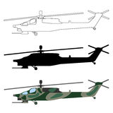 Helicopter silhouette, cartoon, outline. Military equipment set. Icon. Vector illustration Royalty Free Stock Photos