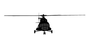 Helicopter of silhouette. Stock Photos