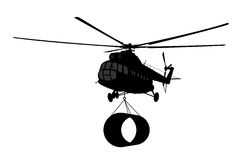 Helicopter of silhouette. Royalty Free Stock Photos
