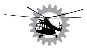 Helicopter of silhouette. Royalty Free Stock Images
