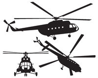 Helicopter silhouette. Vector illustration Stock Images