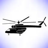 Helicopter. Silhouette of Helicopter  on White Background Royalty Free Stock Photos