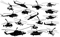 Helicopter silhouettes Royalty Free Stock Images