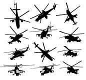 Helicopter silhouettes set. Mi-24 Hind combat helicopter silhouettes set. Vector on separate layers Stock Photography