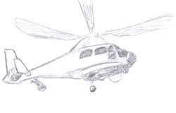 Helicopter sketch Stock Photos