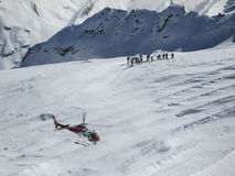Helicopter Skiing Swiss Alps St. Moritz. Royalty Free Stock Image