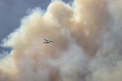 Helicopter in smoke. Plume of smoke over pine trees from the Angora fire in Lake Tahoe June 27,2007 with helicopter Royalty Free Stock Photo