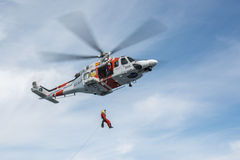 Helicopter of the Spanish Maritime Rescue Team Royalty Free Stock Photography