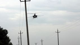 Helicopter spraying fertilizer Royalty Free Stock Images