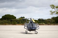 Helicopter stationed on the ground Royalty Free Stock Photos