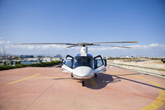 Helicopter. Stationed on a tarmac in greece Royalty Free Stock Photography