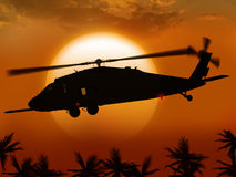 Helicopter and sun. Render UH-60 Black hawk helicopter flies at sun in the middle east Royalty Free Stock Images