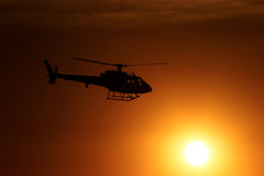 Helicopter Sunset Flight Royalty Free Stock Photography