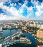 Helicopter sunset view of Miami Beach, Florida Royalty Free Stock Photo