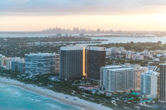Helicopter sunset view of Miami Beach, Florida Royalty Free Stock Photos