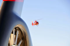 Helicopter Tail. (E130) Helicopter Landing on Heliport Royalty Free Stock Photo