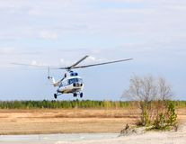 The incoming helicopter. royalty free stock photography
