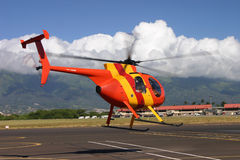 Helicopter takes tourist for a tour Stock Photo