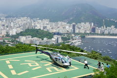 Helicopter taking off over Rio de Janeiro Stock Image