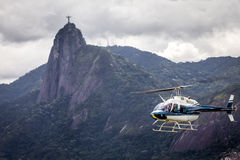 Helicopter taking off to offer an aerial view of one of the new seven wonders  Stock Photos