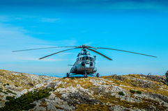 Helicopter. On th top of the Dinara mountain Stock Photos