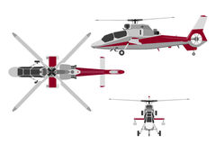 The helicopter in three views: top view, side, front. Realistic Royalty Free Stock Photography