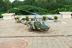 Helicopter on the top of Independence Palace Stock Photo