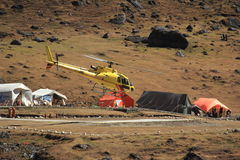 Helicopter tour in himalaya. Royalty Free Stock Photos