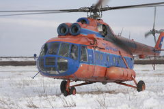 Helicopter in tundra. Helicopter Mi-8 to air companies Taymyr in tundra Stock Photo