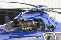Helicopter turbine engine. Helicopter gas-turbine engine with the cowling opened stock photos