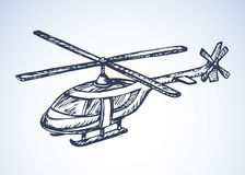 Helicopter. Vector drawing. Modern turning radio remote rc model  on white background. Freehand outline ink hand drawn picture web sign sketchy in art retro Royalty Free Stock Photo