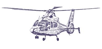 Helicopter hand drawn royalty free stock image