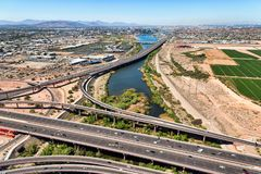 Helicopter View from above a freeway interchange Royalty Free Stock Image