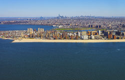 Helicopter view on Coney Island Beach and Boardwalk Stock Images