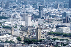 Helicopter view of Houses of Parliament and Big Ben, London Royalty Free Stock Images