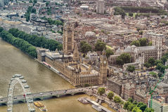 Helicopter view of Houses of Parliament and Westminster area, Lo Stock Image