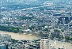 Helicopter view of Houses of Parliament and Westminster area, Lo Royalty Free Stock Photo