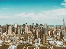 Helicopter view of Lower Manhattan, New York City royalty free stock photography
