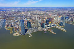 Helicopter view on New Jersey skyline from Hudson Royalty Free Stock Image